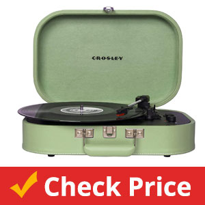 Crosley-CR8009A-SEA-Discovery-Vintage-Bluetooth-3-Speed-Belt-Driven-Suitcase-Turntable,-Seafoam