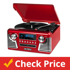 Victrola-50's-Retro-3-Speed-Bluetooth-Turntable-with-Stereo,-CD-Player-and-Speakers,-Red